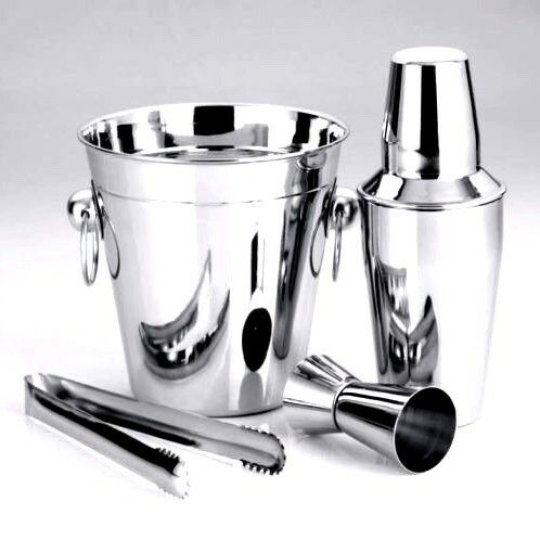 4PC COCKTAIL SET SHAKER MIX STAINLESS STEEL DRINKS ICE BUCKET TONG MARTINI MIXER