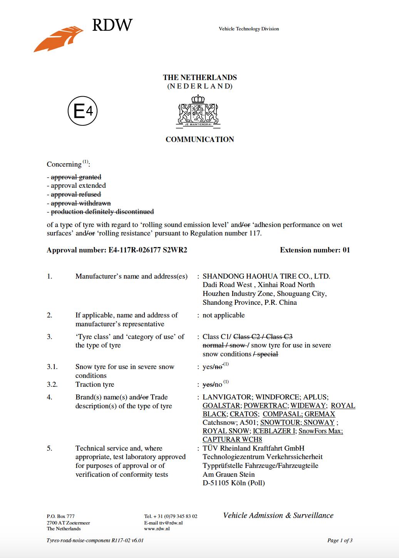 Royal_Snow_certifikát