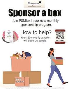 PSMJax Sponsor a Box Flyer