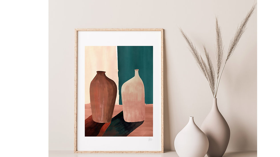 A modern interior featuring a earth tone and teal green contemporary minimalist abstract art print of vases