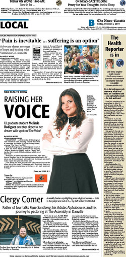 Melinda Rose on the cover of the paper