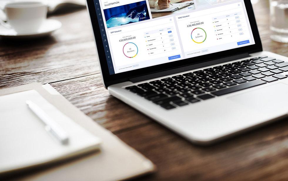 Platinum~Pro|Pensions Administration Technology|Laptop on Desk