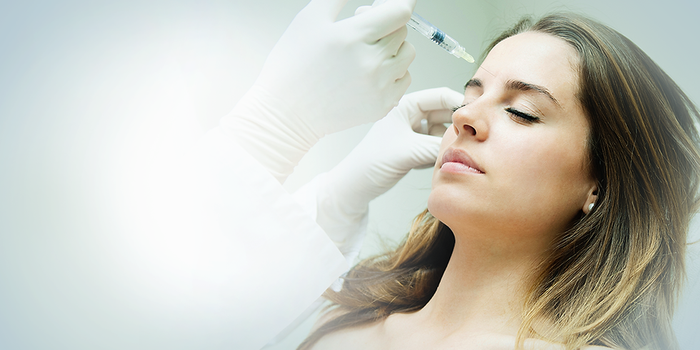 Injecting Botox into patient's forehead