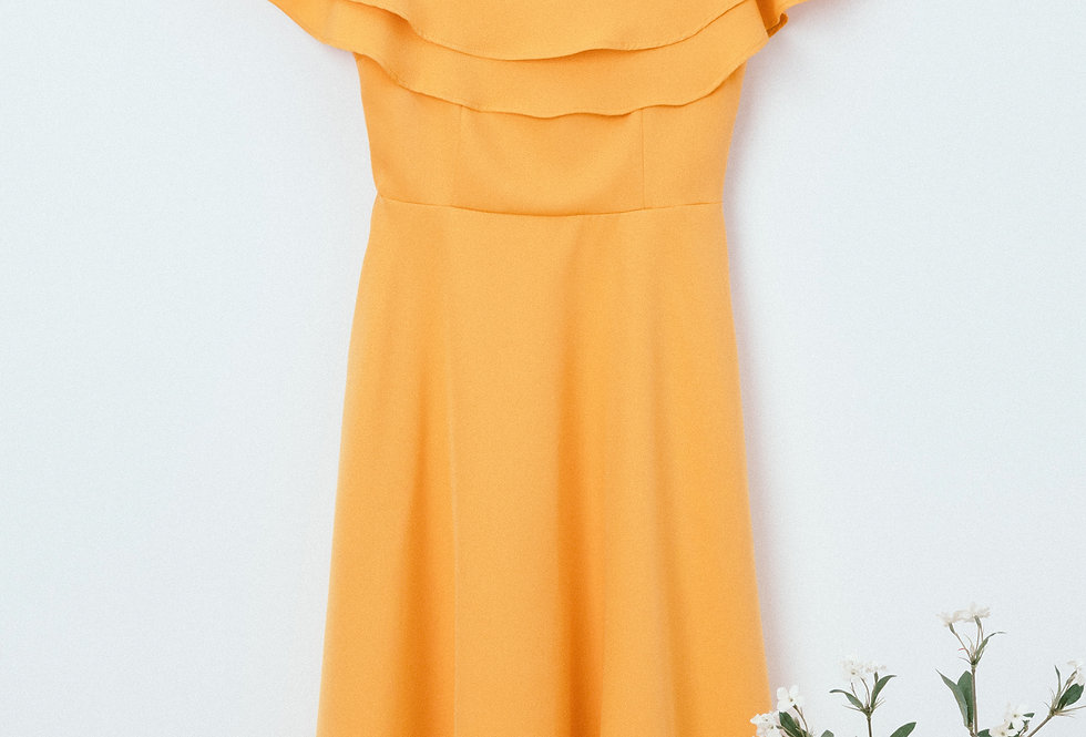 Yellow Flounce Off Shoulder Dress