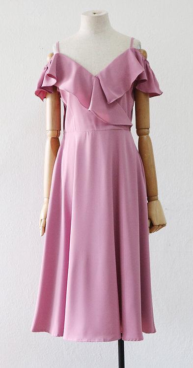 Flounce shoulder dress