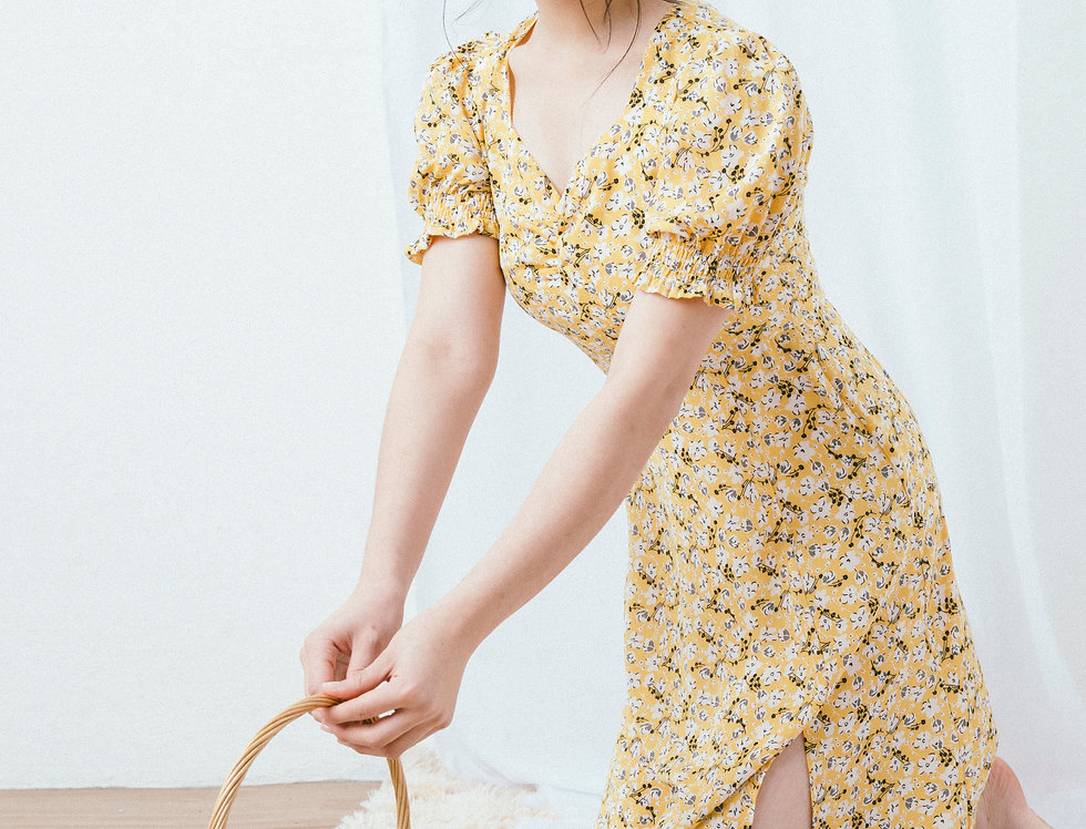 Yellow Ditsy Draped Chest Dress