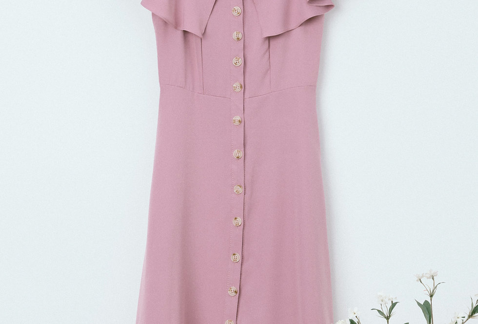 Lilac Ruffle Neckline Dress