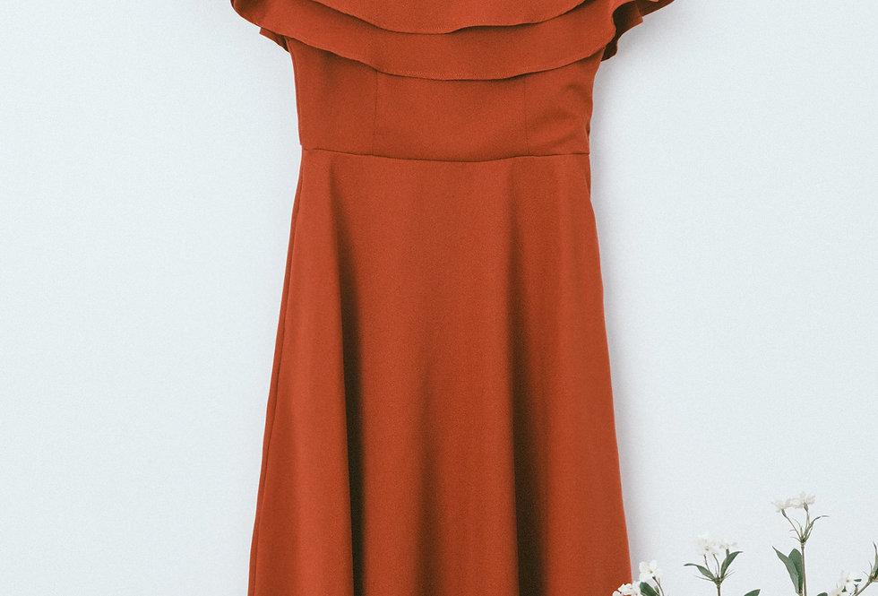 Red Flounce Off Shoulder Dress
