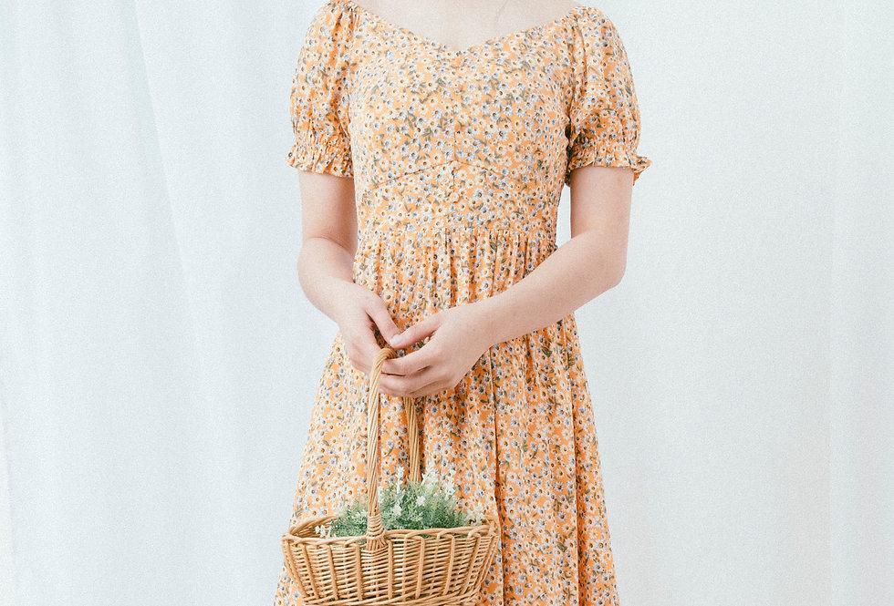 Peach Floral U Neck Dress