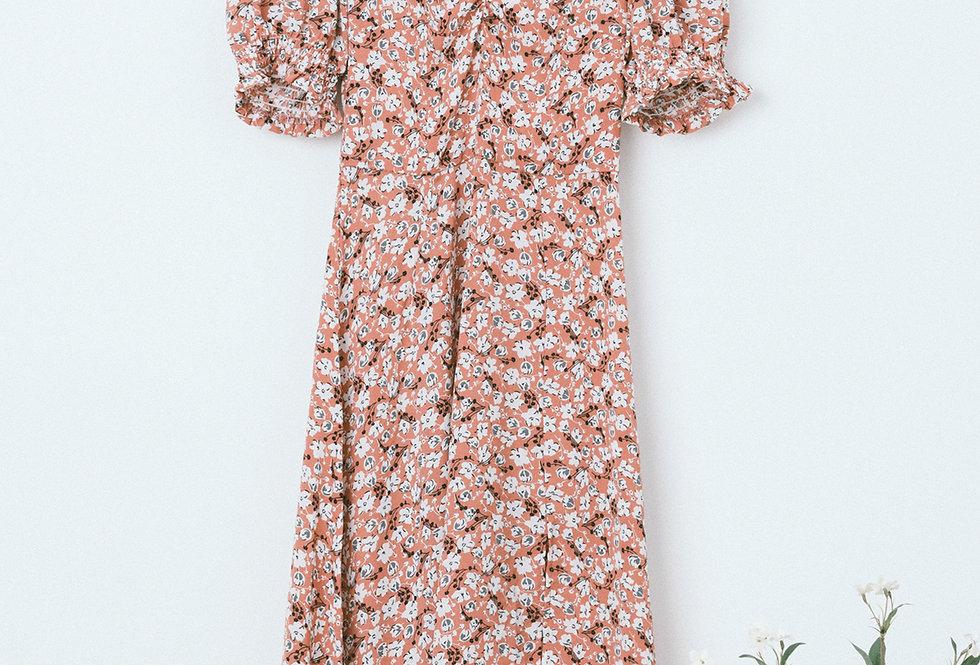 Peach Ditsy Draped Chest Dress