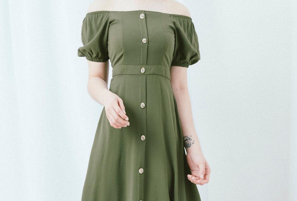 Green Button Through Dress