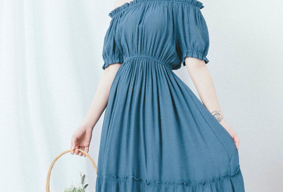 Blue Tiered Dress