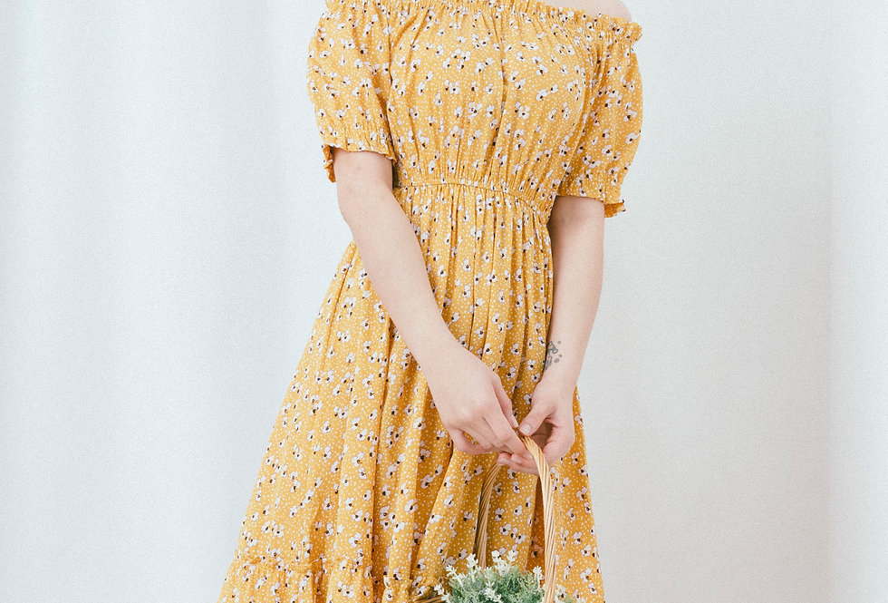Yellow Printed Tiered Dress
