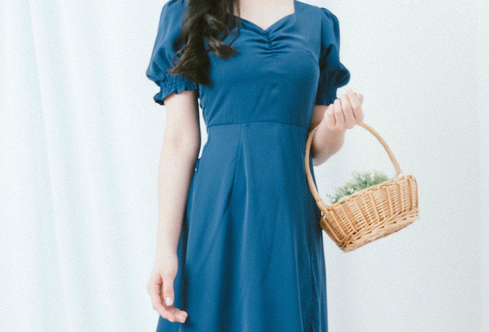 Blue Draped Chest Dress
