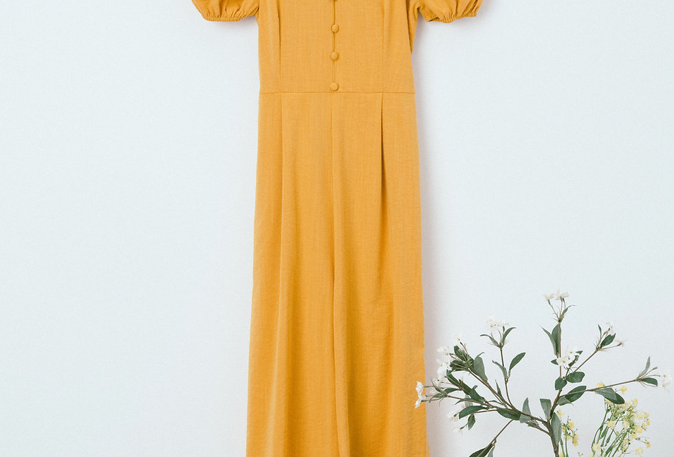Yellow Back Tie Jumpsuit