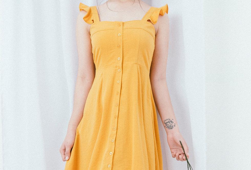 Yellow Ruffle Strap Dress