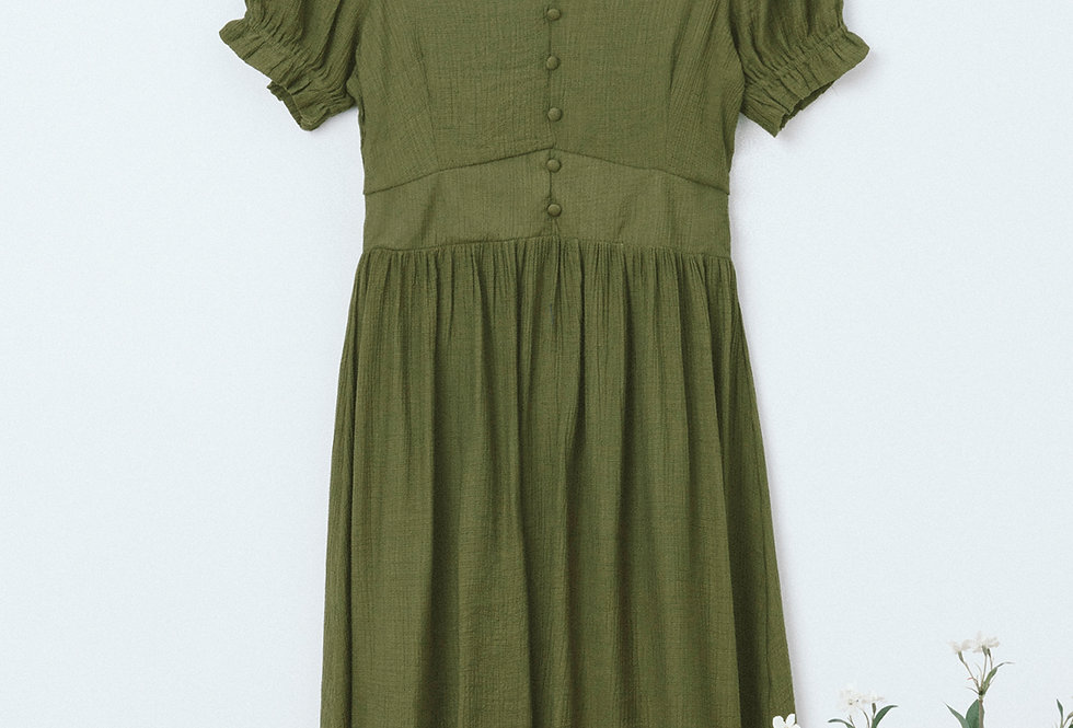 Green U Neck Dress