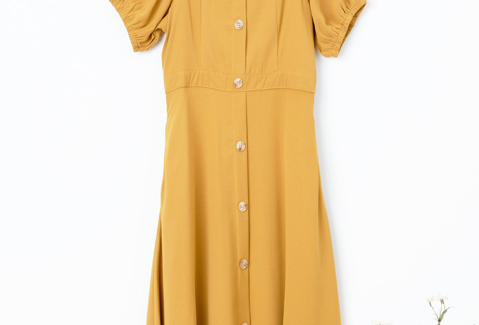 Mustard Button Through Dress