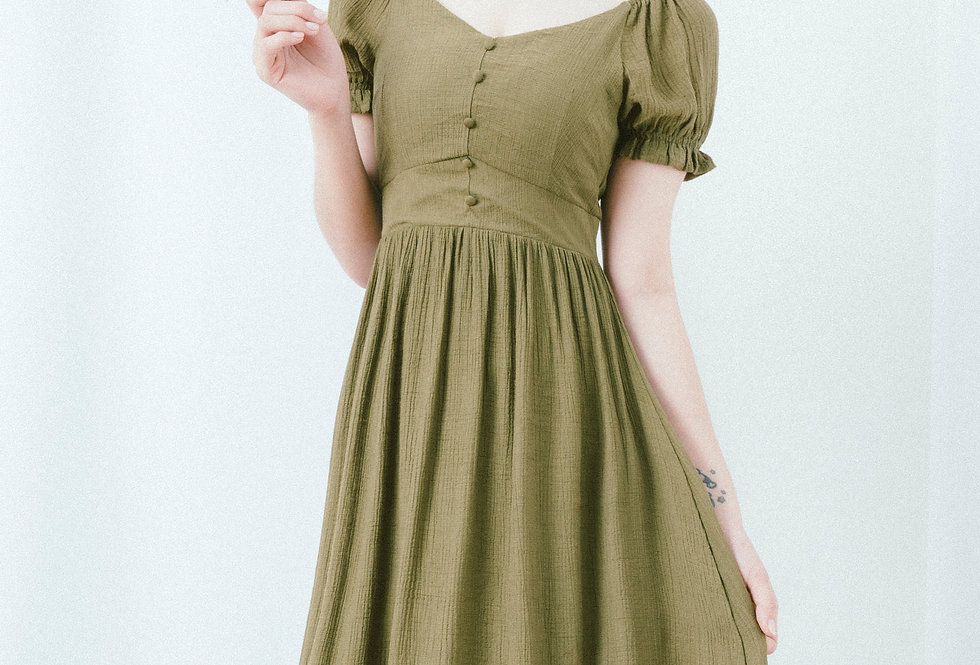Green U Neck Dress