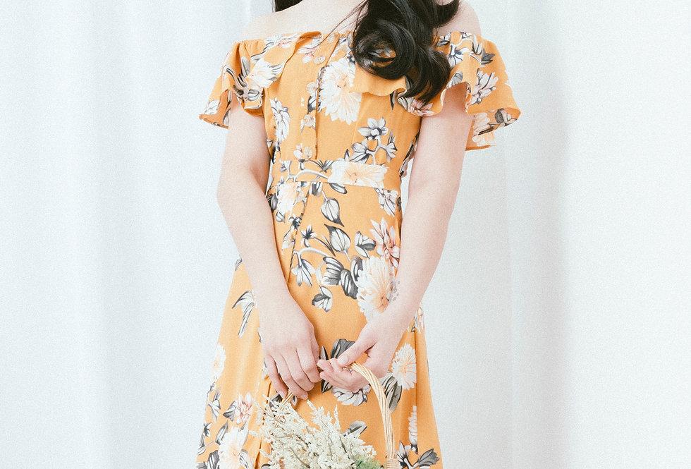 Yellow Ruffle Neckline Dress