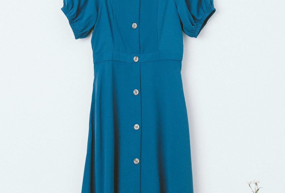 Blue Button Through Dress