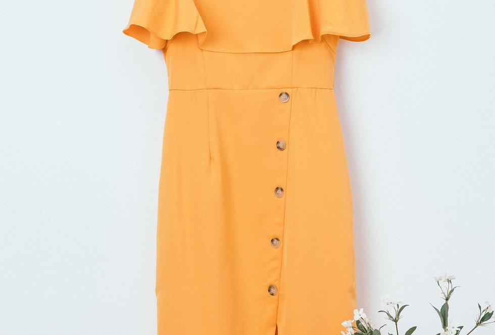 Yellow Split Button Dress