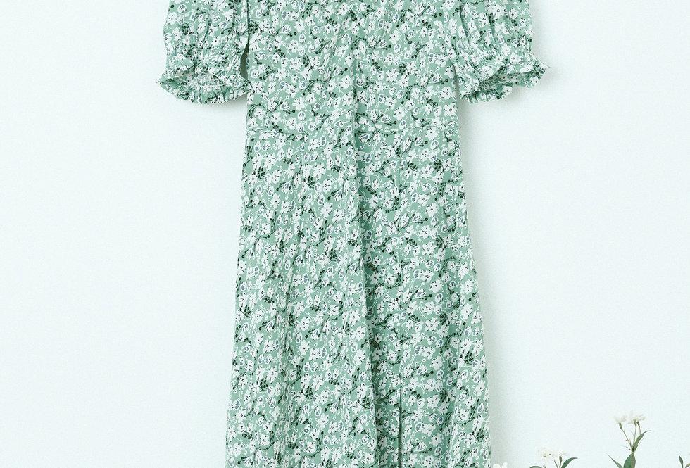Green Ditsy Draped Chest Dress
