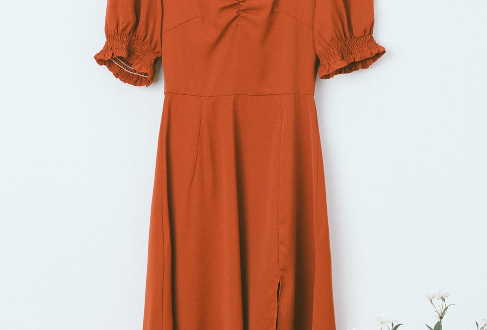 Brick Draped Chest Dress