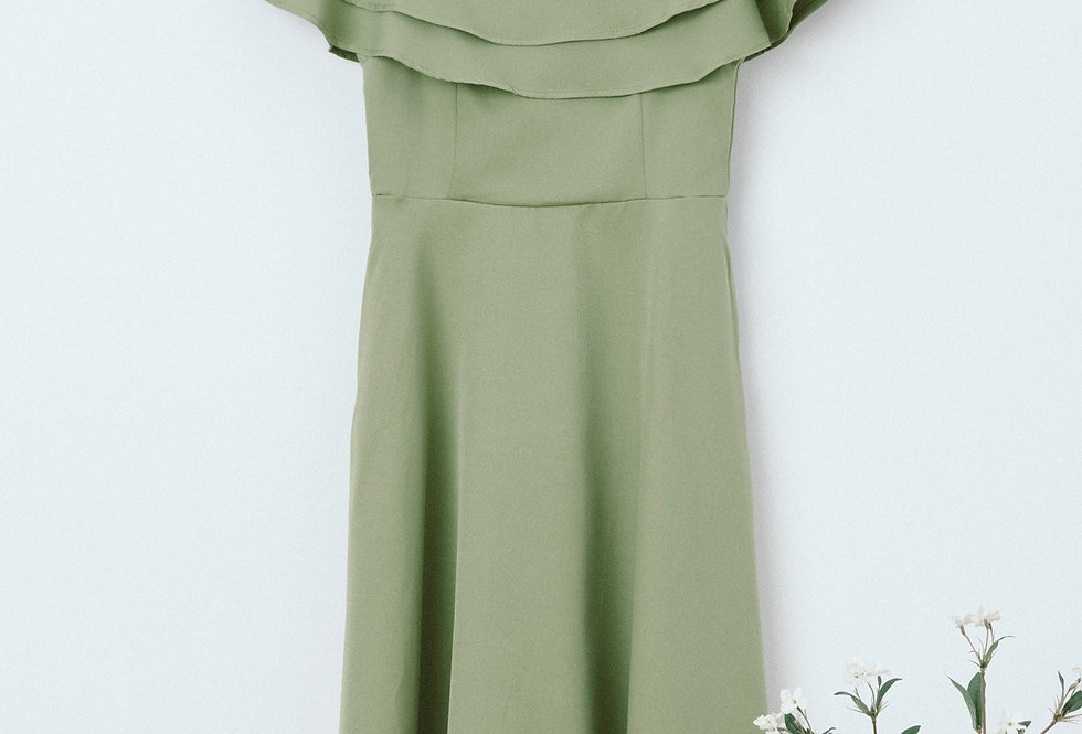 Green Flounce Off Shoulder Dress