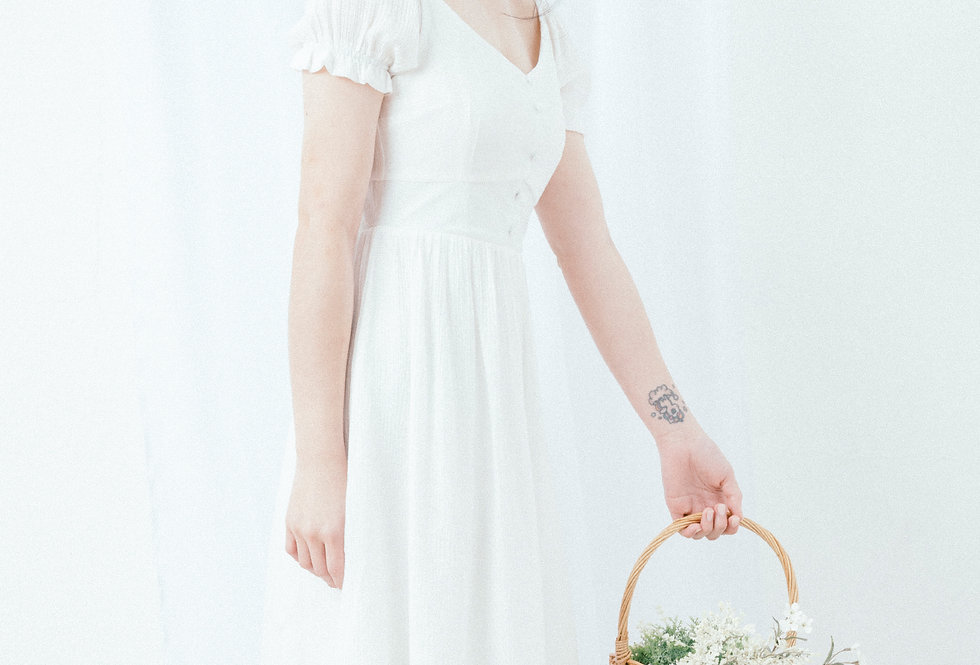 White U Neck Dress