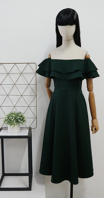 Flounce off the shoulder dress