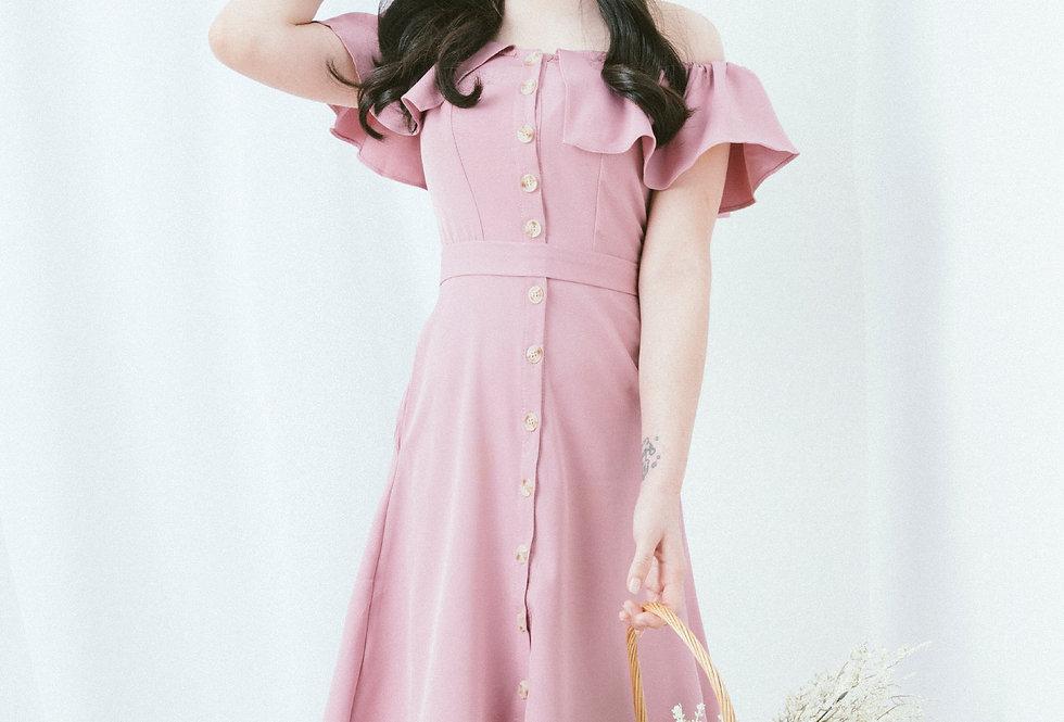 Lilac Ruffle Neckline Dress
