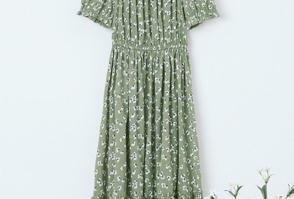 Green PrintedTiered Dress