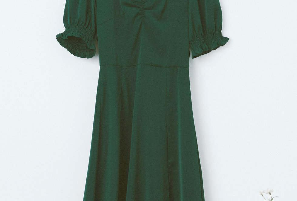 Green Draped Chest Dress
