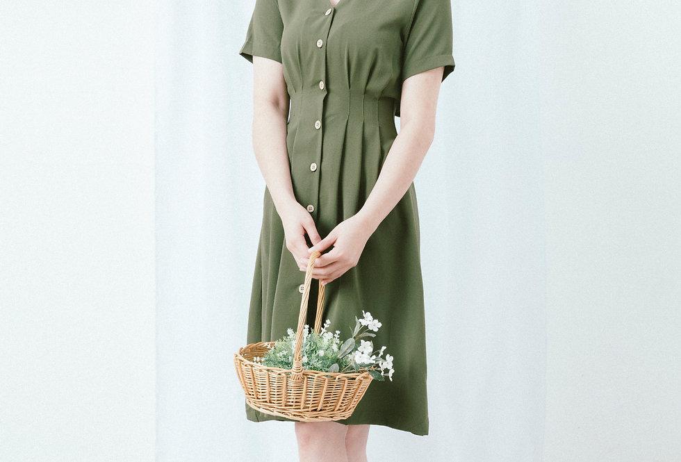 Green Shirt Waist Dress