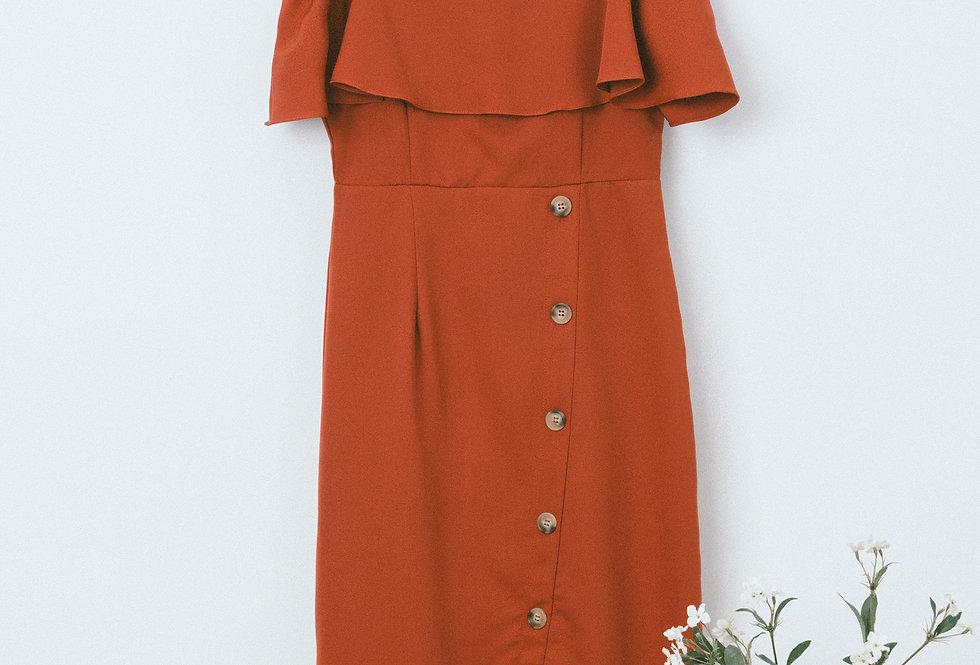 Red Split Button Dress