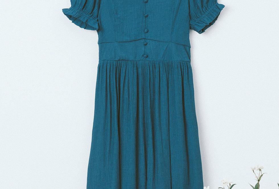 Blue U Neck Dress