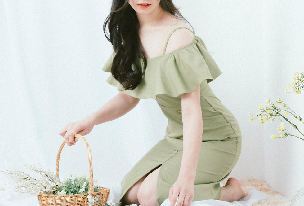 Green Split Button Dress