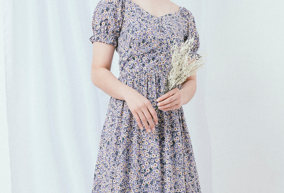 Purple Floral U Neck Dress