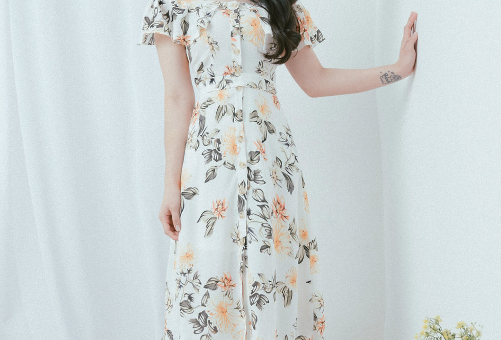 White Ruffle Neckline Dress