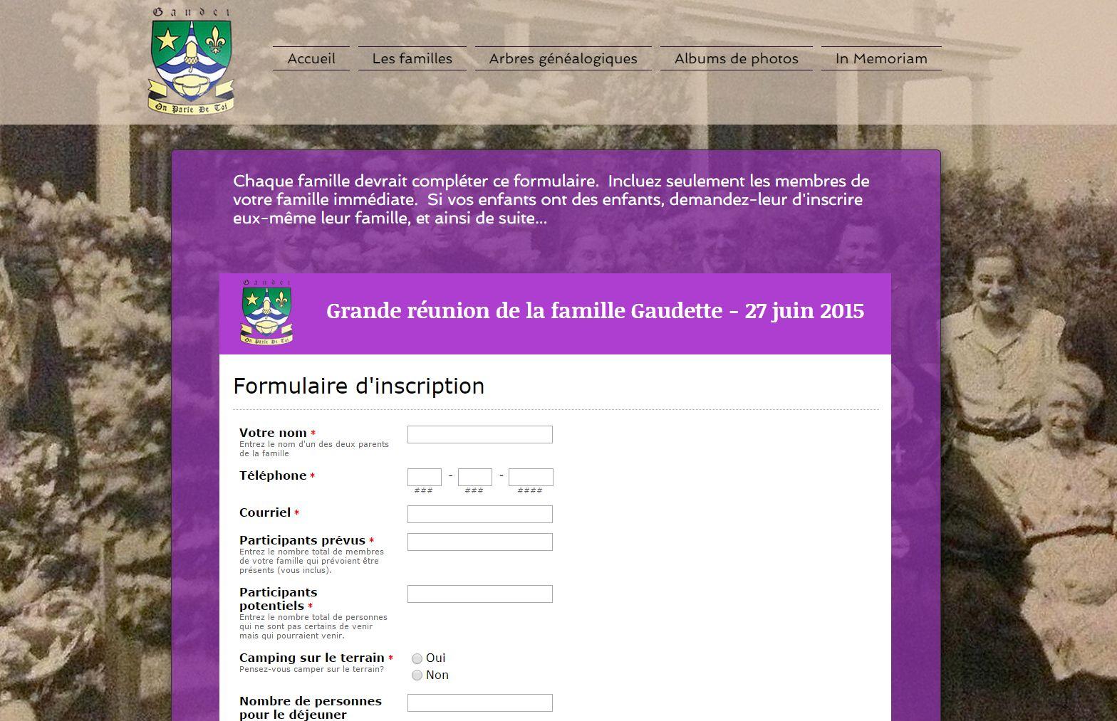 Formulaire d'inscription en ligne