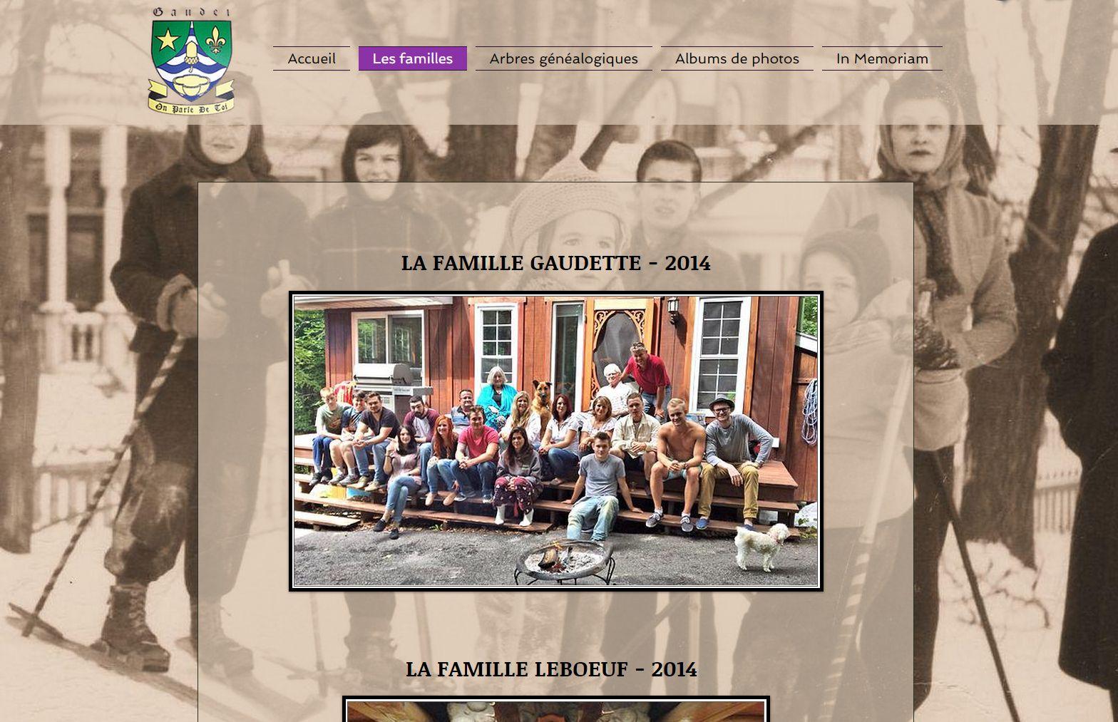 """Page """"Les familles"""""""