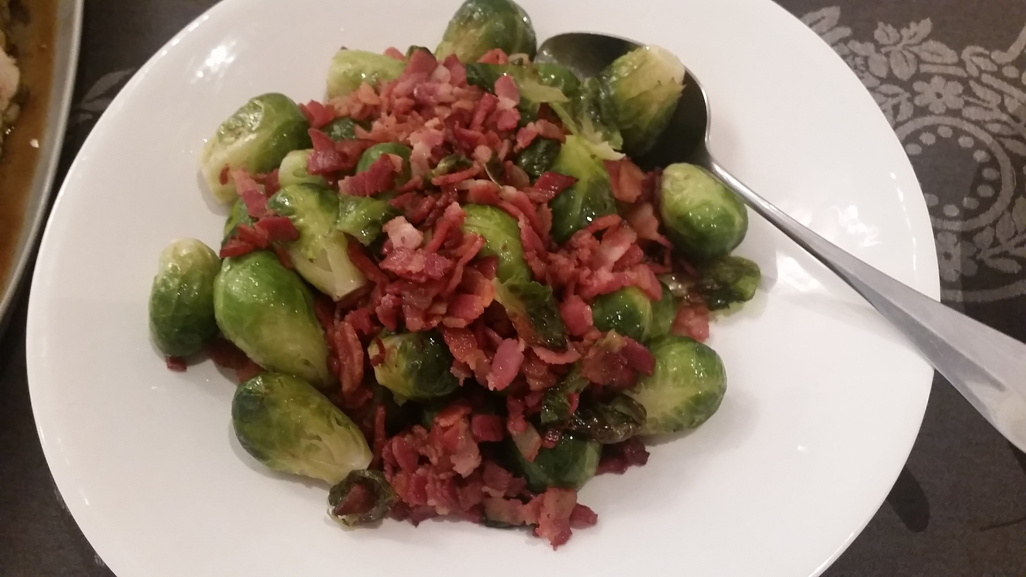 Brussels sprouts with streaky bacon
