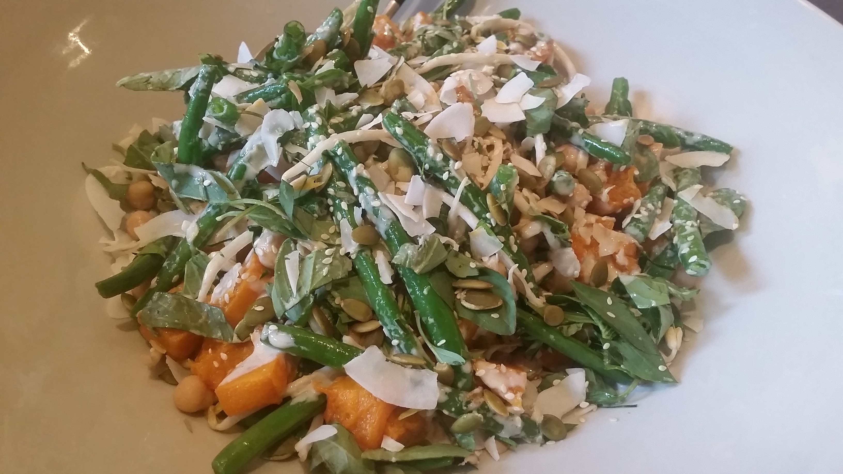 Roasted pumpkin salad with coconut