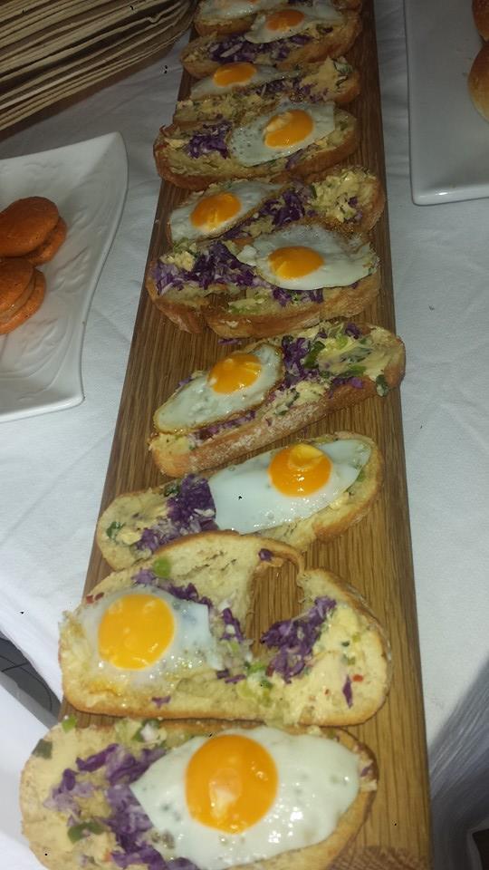 Quail egg crostini