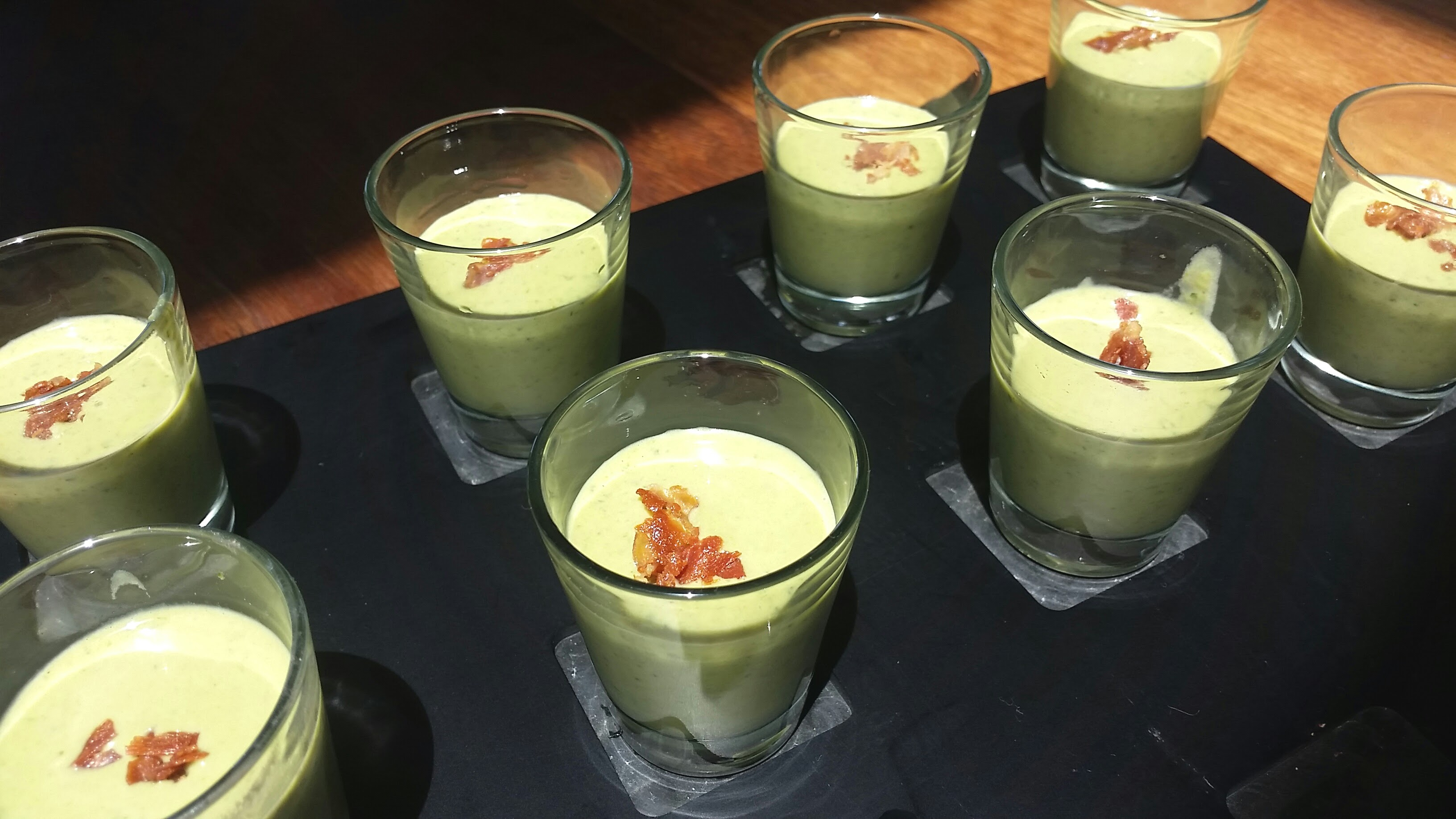 Cold pea soup shooters
