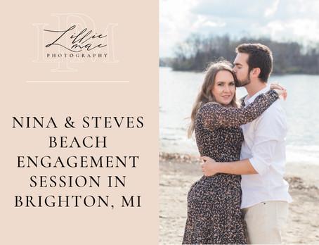Nina & Stevens Beach Engagement Session in Brighton, Michigan