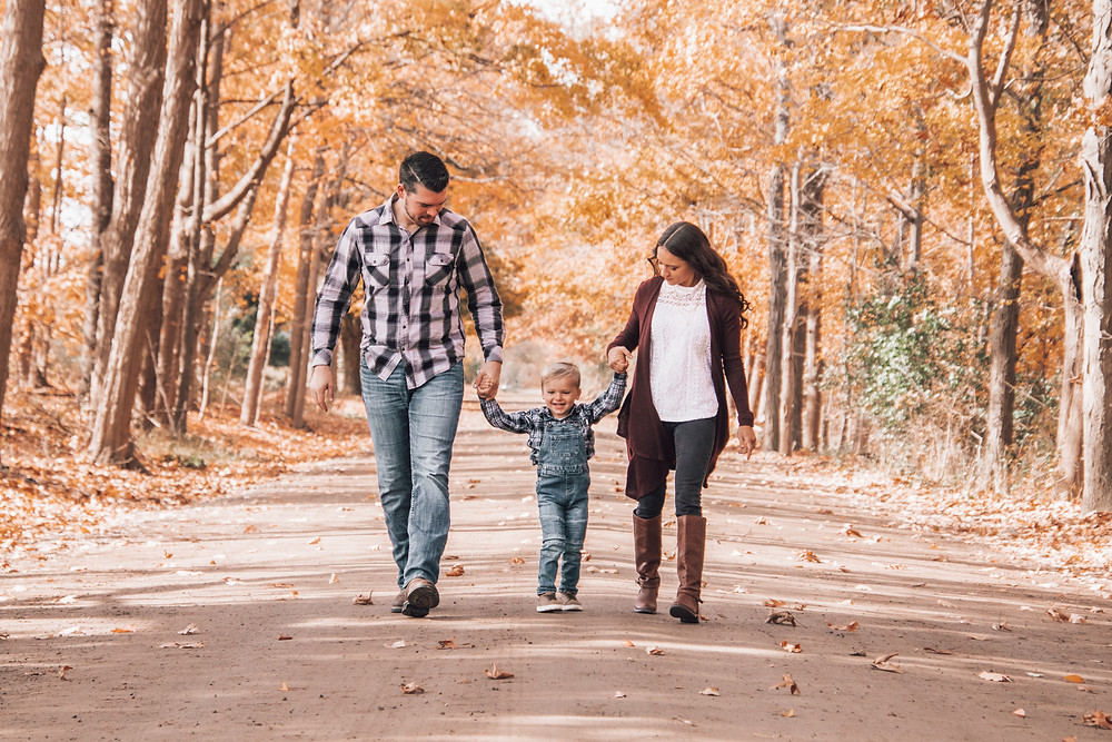family of three walking and holding hands down dirt road
