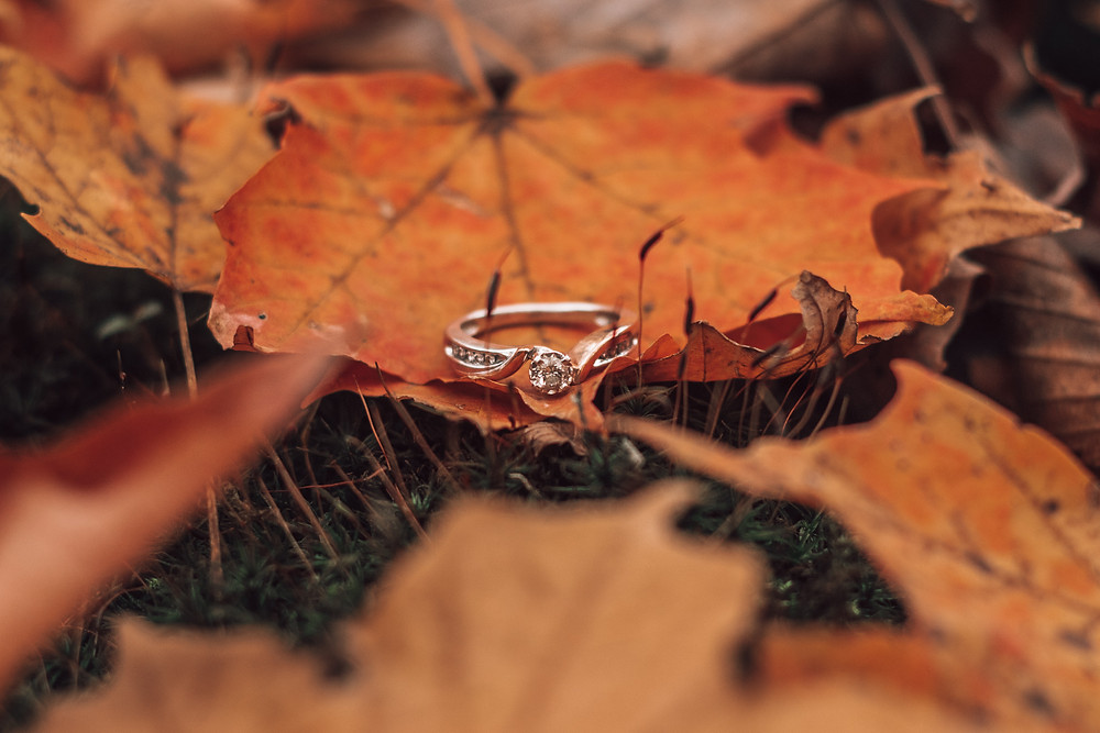 engagement ring laying on orange fall leaves