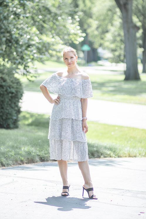 White Soft Summer Polka Dot Dress